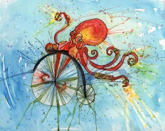 Octopus Bike - PRINT - PAiNtBABies
