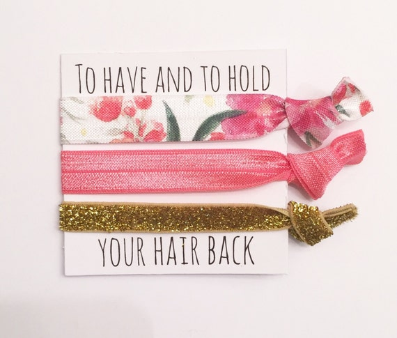 Bridesmaid hair tie favor//hair tie card, party favor,bridesmaid gift,bachelorette gift, bride, wedding, hair ties, bridesmaid favor, pink
