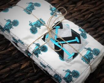 Baby boy monogram burp cloth set, Custom initial motorcycle and chevron black blue and gray burp cloths, shabby chic baby gift set
