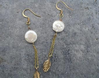 gold, pearl dangle earrings