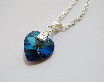 Swarovski Heart Necklace, Sterling Silver, Crystal Bermuda Blue