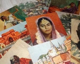 Vintage travel postcards - Unused vintage postcards - India art postcards - India travel print cards - Soviet art post cards - Travel art