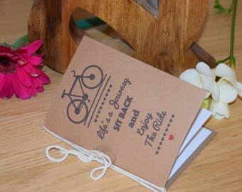 Bicycle NoteBook 'Life's a journey, sit back and enjoy the ride'. A6