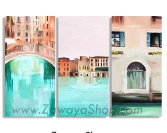 Set of three Venice home decor prints artwork, 3 canvase prints stretched ready to hang