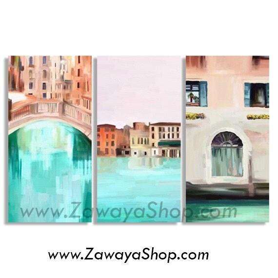 Set Of Three Venice Home Decor Prints Artwork 3 Canvase