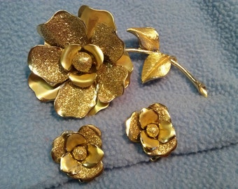 Coro Golden Rose Brooch and Earrings~Vintage Demi Parure