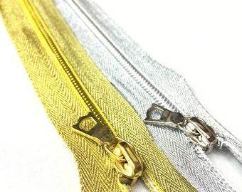Gold OR Silver 6 inch CLOSED BOTTOM Metallic Zipper #5 Coil (1 Zipper)
