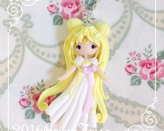 Serenity Necklace ~ Cute Sailor Moon Princess Necklace Fimo Polymer Clay Kawaii Manga Anime Fan Art Doll