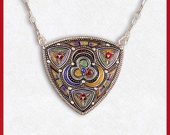 Art Nouveau silvered necklace, multicolour, triangle