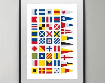 International maritime signal flags, Summer, Alphabet Flags, Poster, Maritime Signal Flag, Typography , Instant Download, Home decor.