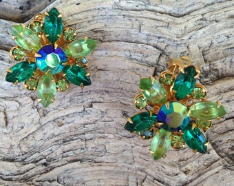 Vintage Emerald, Lime, Peridot and AB Green Rhinestone Flower Earrings