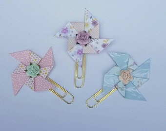 Set of 3 Pinwheel and Rose Planner Paperclips