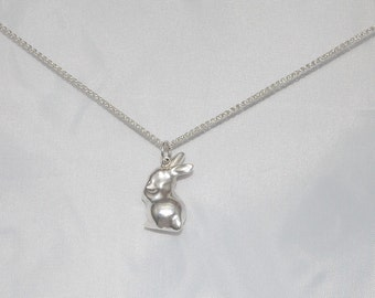 Solid silver bunny pendant charm