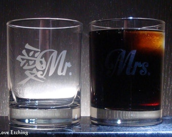 Etched Glass Double Old Fashioned Glasses | Mr. and Mrs. - Kanji Symbol for LOVE - Set of 2