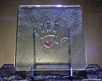 Fused Glass Square Display Piece | Hand with Heart Iridescent on Grey Transparent - Kiln Carved