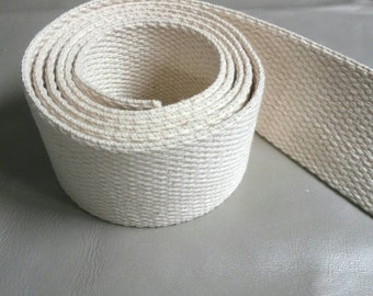 3 Yards, 2 inch (5 cm./50 mm.), Cotton Webbing, Natural White Cotton Webbing,High Quality, Bag Straps,Purses Straps,Belting,Tote Bag Handle