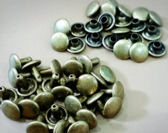 100 pcs, 8 mm. Antique Brass Round Double Rivets and Studs, For Leather Craft, Bag and Purse, Accessories.