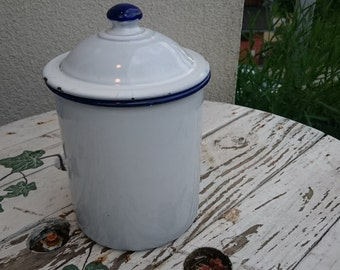 Vintage enamel pot, enamel tea pot, enamel coffee container