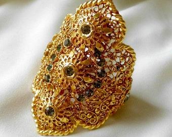 Huge Golden Filigree European Vintage Cuff Bracelet