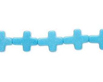 Blue Cross Bead, Magnesite Cross, Small Cross, 11x9mm, 6 Each, D830