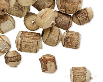 Natural Wood Beads, Hand-Cut beads, Round, Tube, Barrel, Primitive, 6x5mm to 12x11mm, One Ounce, D900