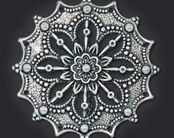 Focal, antiqued silver disk, filigree flower, Steampunk, 34mm round, 2 each, D351