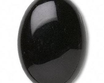 Black Cabochon, Black Onyx Gemstone, Oval 30x22mm, 1 each, D745