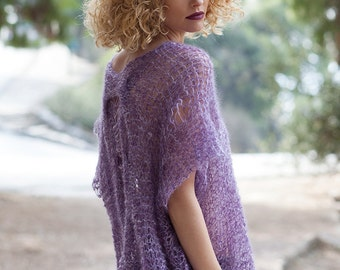 Cable knit sexy alpaca sweater, loose sheer tunic, purple soft jumper, transparent silk knit, spring boho clothes, itchy free women sweater