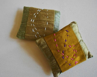 Dupioni silk sachet lavender filled hand embroidered kantha french knots brass silver gold