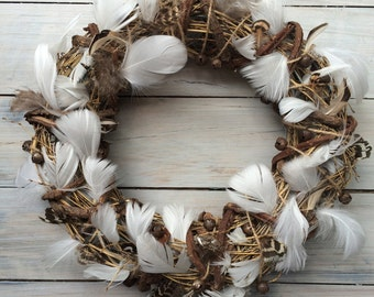 Feather bohemian Christmas wreath