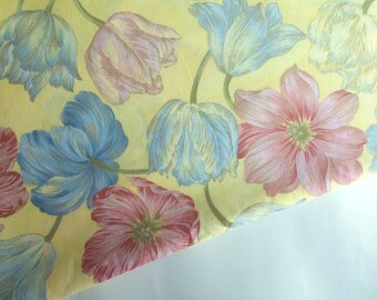 Blue & yellow fabric by the yard, yellow tulip fabric, floral cotton fabric sale blue flower fabric, quilt fabric yardage