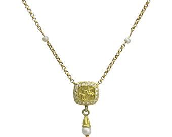 18K Gold Designer Pegasus Diamond and Cultured Pearl Necklace