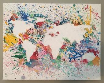 World map splatter paint wall art