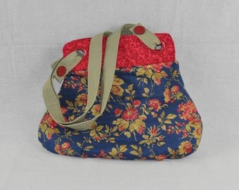 Navy Flowered Bag