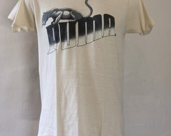 Vtg 1982 Puma Brand T-Shirt Beige M 80s 50/50 Sneakers