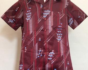 Vtg 70s Mr Jan Polyester Casual Shirt Maroon M Disco Geometric Design