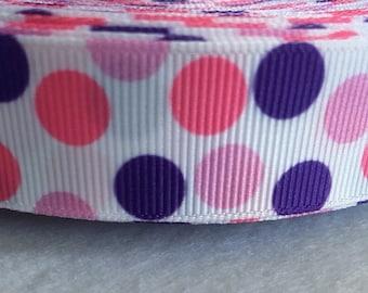 "Pink & purple polka dot grosgrain ribbon 7/8""-5 yards"