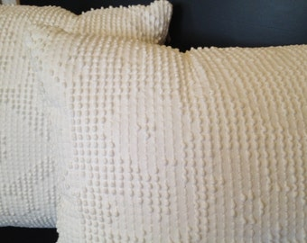 White hobnail chenille pillow COVERS