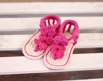 Crochet baby sandals, purple bow sandals, baby girl sandals, baby shoes, handmade baby shoes