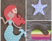Mermaid, Lavender Starfish, and Lavender, Aqua, Light Pink, and White Whale