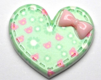 Green Daisy Heart, Pack of 5