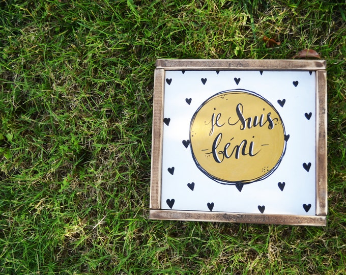 Je Suis Beni- Gold and Hearts Design-Wooden Sign
