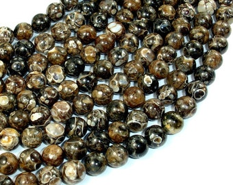 Turritella Agate, Elimia, 8mm(8.5mm) Round Beads, 16 Inch, Full strand, Approx 49 beads, Hole 0.8mm, A+ quality (421054001)