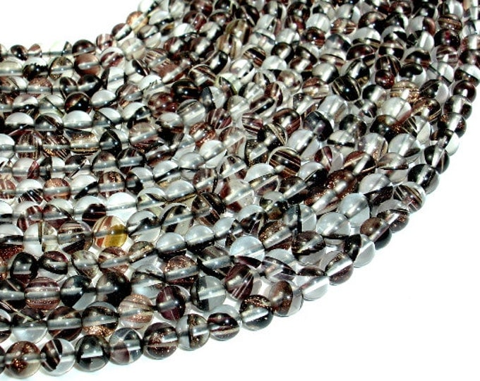 Black/ Clear/Gold Glass Beads, 6mm (6.5mm) Round Beads, 15.5 Inch, Full strand, Approx 68 beads, Hole 1 mm (005822006)