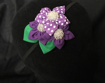 Purple polkadot floral headband with beaded accents