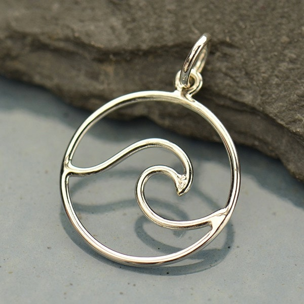 Sterling Silver Openwork Wave Wave Pendant Wave Charm