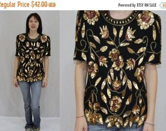 On Sale Vintage 80s Stenay Black Silk Sequin Floral Leaf Dress Top Blouse Shirt S M