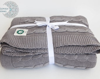 Organic Cotton Cable Knit Throw YourLovelyBedding Light Grey Color Gorgeous Luxury Quality