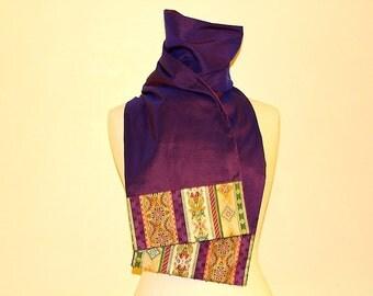 Scarf beaded doupion silk and fabric of plum creator