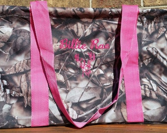 ON SALE ** Camo/Camouflage Utility/Tote Bag with Pink Handles - Personalized/Monogrammed